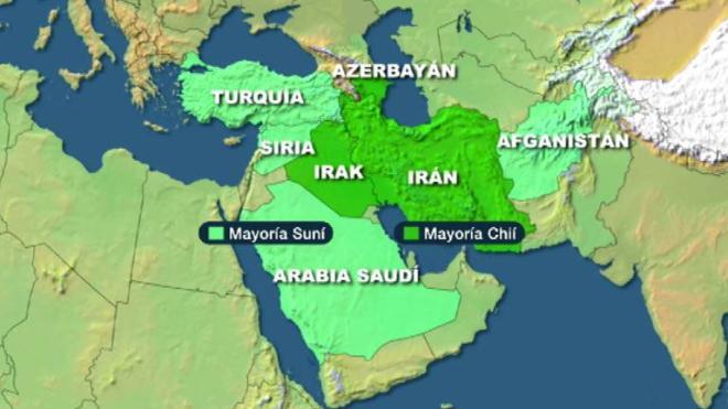 En verde pálido, países de mayoría sunní; en verde intenso, países de mayoría shií
